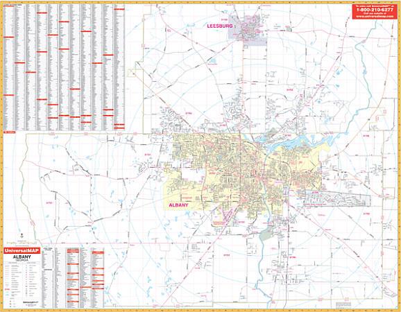 Albany County WALL Map, Georgia, America.