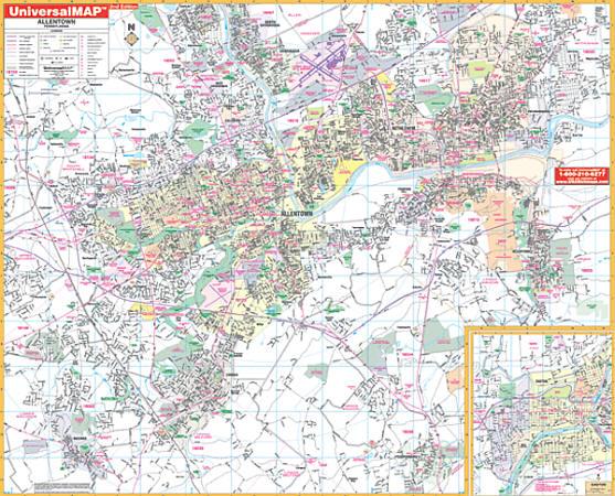 Allentown County WALL Map, Pennsylvania, America.