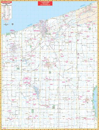Ashtabula County WALL Map, Ohio, America.