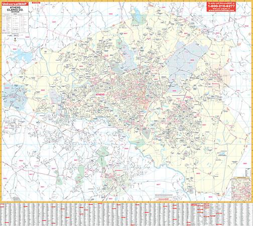 Athens WALL Map, Georgia, America.