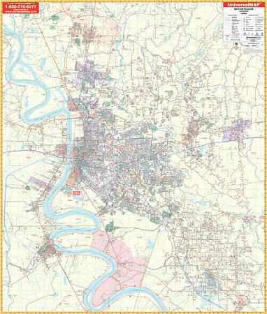 Baton Rouge WALL Map, Louisiana, America.