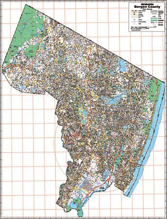 Bergen County WALL Map, New Jersey, America.