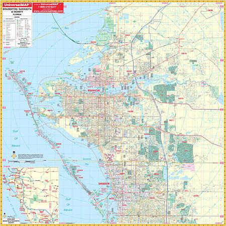 Bradenton and Manatee WALL Map, Florida, America.