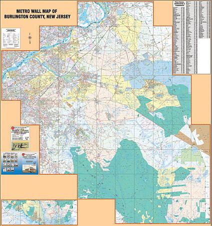 Burlington County WALL Map, New Jersey, America.