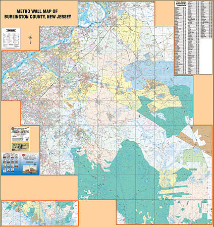 Camden County WALL Map, New Jersey, America.