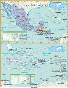 """Central America Essential """"Classroom"""" WALL Map On Roller with Backboard."""