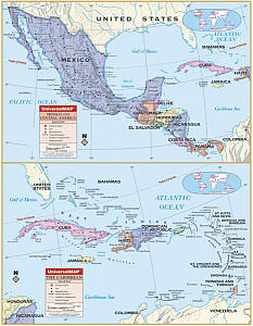 """Central America Primary """"Classroom"""" WALL Map Railed."""