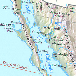 Central America Shaded Relief WALL Map.