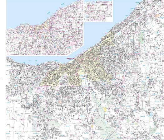 Cleveland WALL Map, Ohio, America.