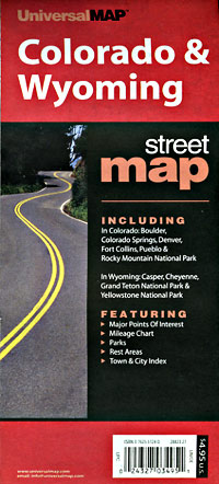 Colorado and Wyoming, Road and Tourist Map, America.