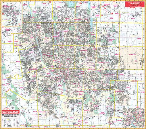 Columbus WALL Map, Ohio, America.