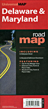 Delaware and Maryland Road and Tourist Map, America.