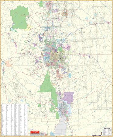 Denver Vicinity WALL Map, Colorado, America.