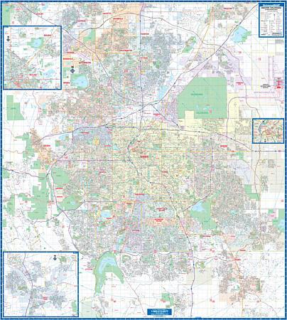 Denver WALL Map, Colorado, America.