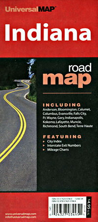 Indiana Road and Tourist Map, America.