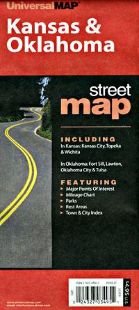 Oklahoma and Kansas Road and Tourist Map, Oklahoma, America.