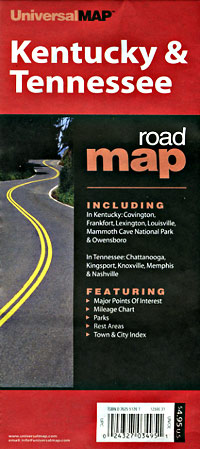 Kentucky and Tennessee Road and Tourist Map, America.