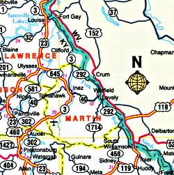 "Kentucky ""Flipmap"" Road and Tourist Map, America."