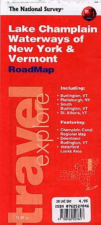 Lake Champlain Waterways of New York and Vermont Road and Tourist Map, New York, America.