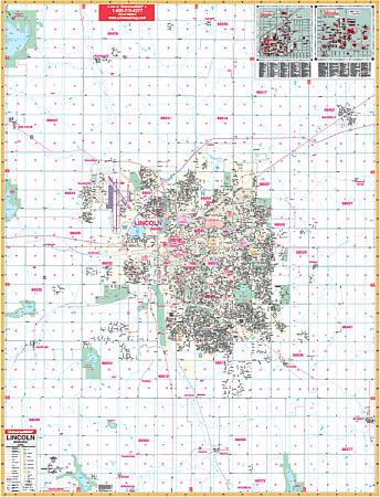Lincoln WALL Map, Nebraska, America.