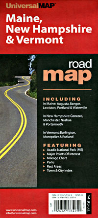 Vermont, Maine and New Hampshire, Road and Tourist Map, America.