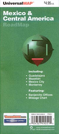 Central America and Mexico, Road and Tourist Map.