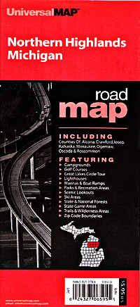 """Michigan """"Northern Highlands"""" Road and Tourist Map, America."""