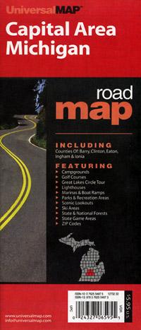 "Michigan ""Capital Area"" Road and Tourist Map, America."