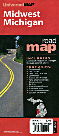 """Michigan """"Midwest"""" Road and Tourist Map, America."""