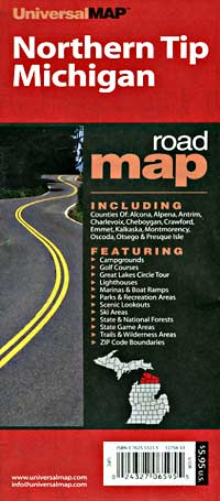 """Michigan """"Northern Tip"""" Road and Tourist Map, America."""