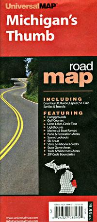 "Michigan ""Thumb"" Road and Tourist Map, America."
