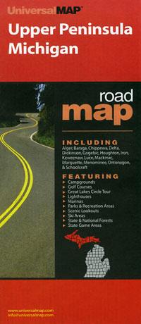 """Michigan """"Upper Peninsula"""" Road and Tourist Map, America."""