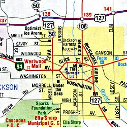 Michigan Road and Tourist Map, America.