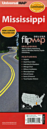"""Mississippi """"Flipmap"""" Road and Tourist Map, America."""