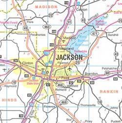Mississippi Road Map, America.