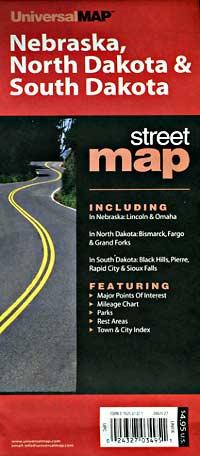 Nebraska, North Dakota, and South Dakota Road Map, America.