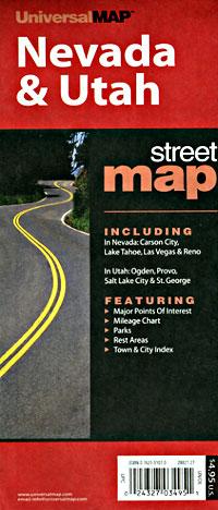 Nevada and Utah Road and Tourist Map, America.