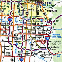 Utah and Nevada Road and Tourist Map, America.