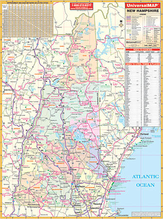 New Hampshire WALL Map.