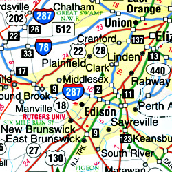 """New Jersey """"Flipmap"""" Road and Tourist Map, America."""
