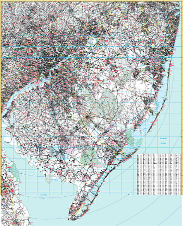 New Jersey Southern Vicinity WALL Map.