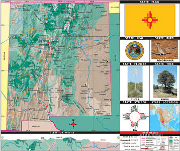 """New Mexico Thematic Primary """"Classroom"""" K-2 WALL Map."""