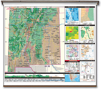 """New Mexico State Thematic Secondary """"Classroom"""" 3-8 WALL Map with Backboard."""
