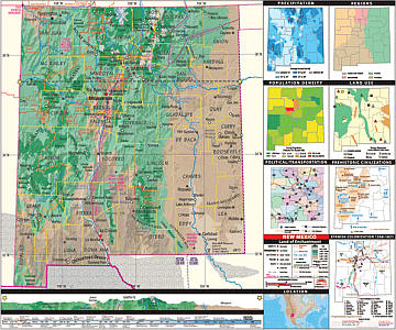 """New Mexico Thematic Secondary """"Classroom"""" 3-8 WALL Map."""