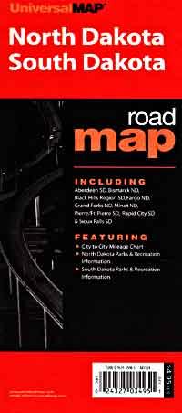 North Dakota and South Dakota, Road Map, America.