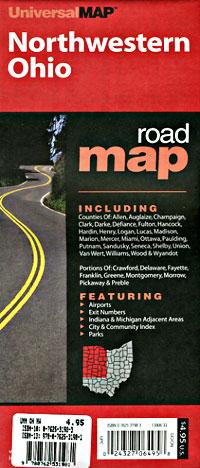 Ohio Northwestern Regional Road and Tourist Map, America.