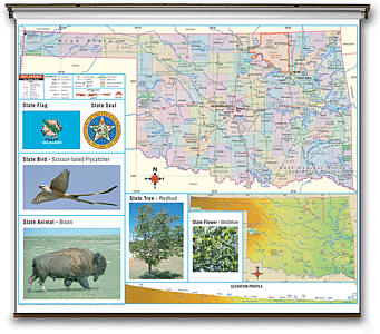 "Oklahoma Thematic Primary ""Classroom"" K-2 WALL Map."