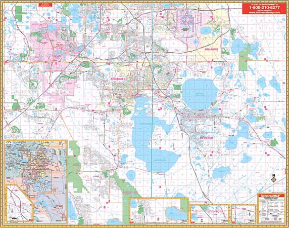 Osceola and Kissimmee WALL Map, Florida, America.