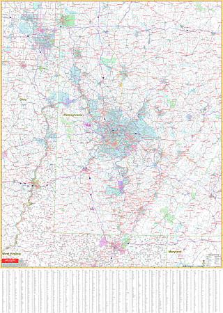 Pennsylvania Southwest WALL Map, America.