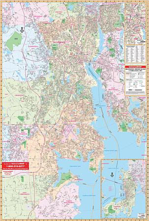 Providence and Rhode Island Vicinity WALL Map, Rhode Island, America.
